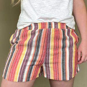 Colorful Striped Elastic Waist Soft Short S-M-L